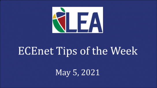 ECEnet Tips of the Week - May 5, 2021