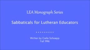Sabbaticals for Lutheran Educators