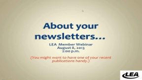 About Your Newsletter...