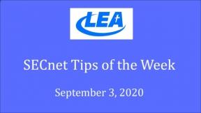 SECnet Tips of the Week - September 3, 2020
