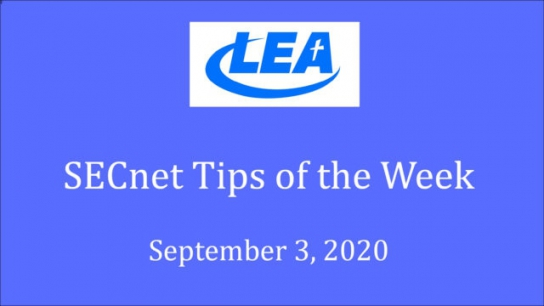 SECnet Tips of the Week - September 3, 2020