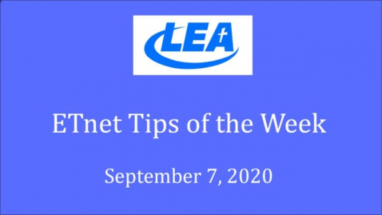ETnet Tips of the Week - September 7, 2020