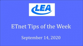 ETnet Tips of the Week - September 14, 2020