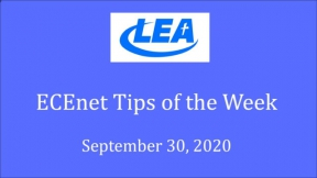 ECEnet Tips of the Week September 30, 2020
