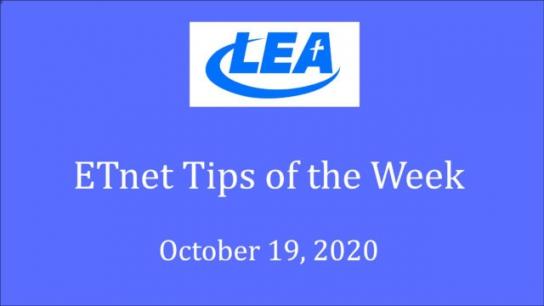 ETnet Tips of the Week - October 19, 2020