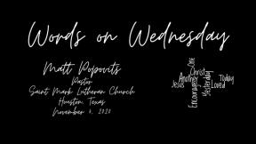 Words on Wednesday - November 4, 2020