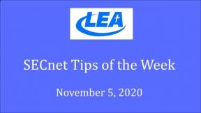 SECnet Tips of the Week - November 5, 2020
