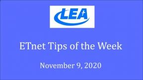 ETnet Tips of the Week - November 9, 2020