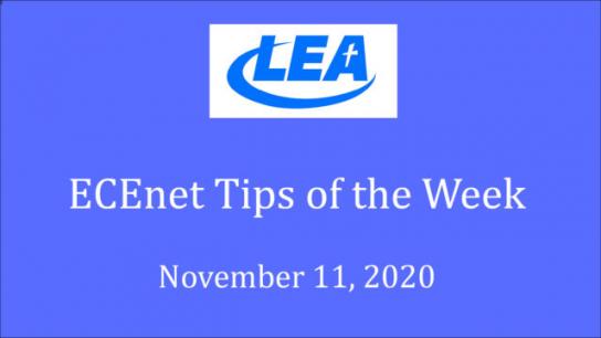 ECEnet Tips of the Week - November 11, 2020