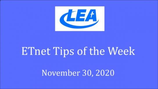 ETnet Tips of the Week - November 30, 2020