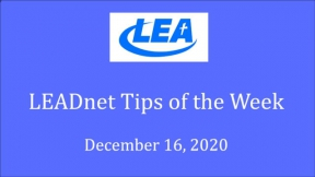 LEADnet Tips of the Week - December 16, 2020
