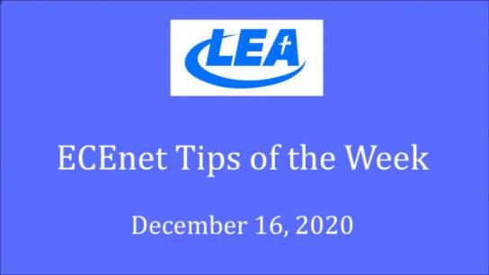 ECEnet Tips of the Week - December 16, 2020
