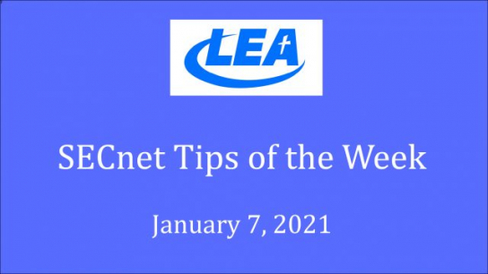 SECnet Tips of the Week - January 7, 2021