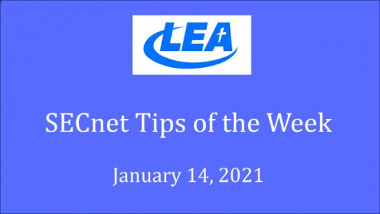 SECnet Tips of the Week - January 14, 2021
