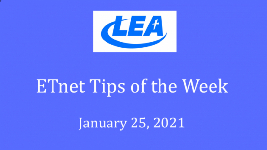 ETnet Tips of the Week -January 25, 2021