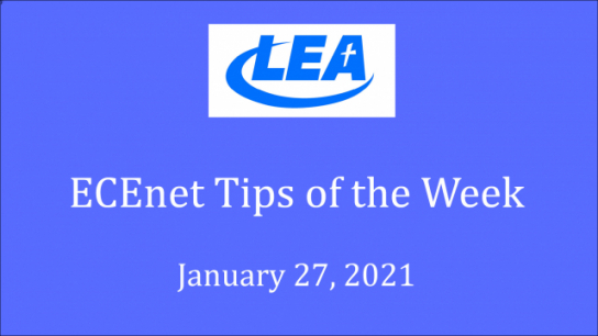 ECEnet Tips of the Week - January 27, 2021