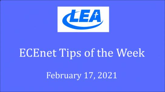 ECEnet Tips of the Week - February 17, 2021