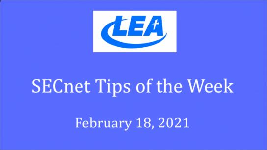 SECnet Tips of the Week - February 18, 2021